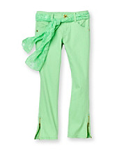 Jolt® Girls' 7-16 Neon Green Zipper Hem Jeans with Lace Belt