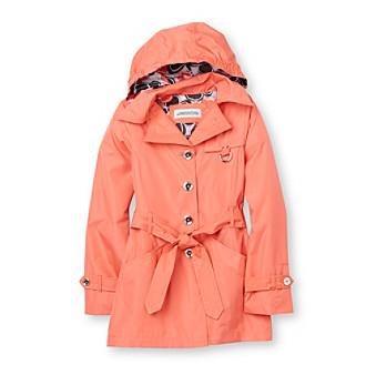 Girl's Coat: London Fog Girls' 7-16 Hooded Trench Coat Kid's