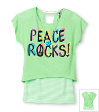 Beautees Girls' 7-16 Neon Green Burnout Peace Rocks Top