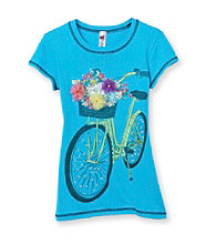 Beautees Girls' 7-16 Blue Bike Screen Tee