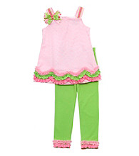 Rare Editions® Girls' 2T-6X Pink/Lime Green Eyelet Leggings Set