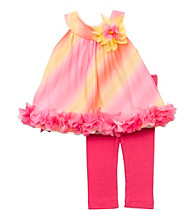 Rare Editions® Girls' 2T-6X Pink/Orange Ombre Leggings Set