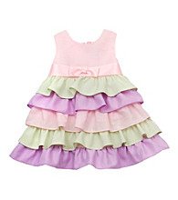 Rare Editions® Girls' 2T-4T Pink Colorblock Tiered Dress
