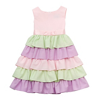 Rare Editions® Girls' 4-6X Pink Colorblock Tiered Dress
