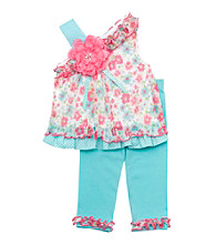 Rare Editions® Girls' 2T-6X Aqua Floral Leggings Set