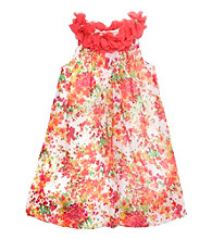 Rare Editions® Girls' 4-6X Coral Ditsy Floral Bubble Dress
