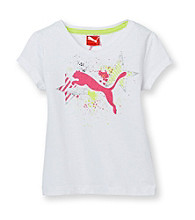 PUMA® Girls' 2T-6X White Short Sleeve Star Tee