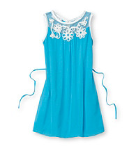 Amy Byer Girls' 4-6X Turquoise Soutache Shift Dress