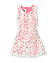 Amy Byer Girls' 4-6X Ivory/Hot Pink Lace Dress