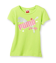 PUMA® Girls' 2T-6X Lime Short Sleeve Girls Rule Tee