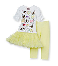 Beautees Girls' 4-6X White/Yellow 2-pc. Horse Leggings Set