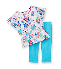 Nannette® Girls' 4-6X Aqua Floral 2-pc. Poncho Set