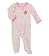 Carter's® Baby Girls' White Cotton Strawberry Print Footie