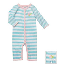 Carter's® Baby Girls' Blue Striped Cotton Fish Jumpsuit