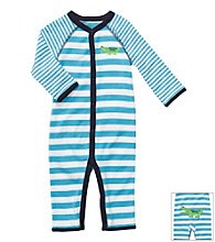 Carter's® Baby Boys' Blue Striped Cotton Gator Jumpsuit