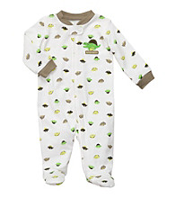 Carter's® Baby Boys' White Cotton Schiffli Dinosaur Footie