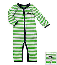 Carter's® Baby Boys' Green Striped Cotton Whale Jumpsuit