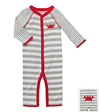 Carter's® Baby Boys' Grey Striped Cotton Crab Jumpsuit