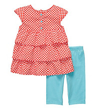Carter's® Baby Girls' Red Polka-Dot Tiered Woven Capri Set