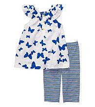 Carter's® Baby Girls' White/Blue 2-pc. Butterfly Capri Set