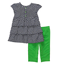 Carter's® Baby Girls' Navy/Green 2-pc. Tiered Woven Capri Set