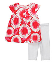 Carter's® Baby Girls' Red 2-pc. Flower Print Capri Set