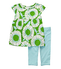 Carter's® Baby Girls' Blue/Green 2-pc. Floral Print Capri Set
