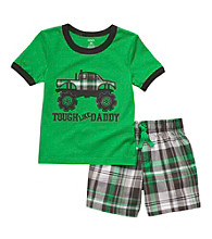 Carter's® Baby Boys' Green Plaid 2-pc. Truck Shorts Set