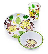 LivingQuarters Kids 3-pc. Monkey Melamine Dinnerware Set