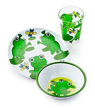 LivingQuarters Kids 3-pc. Frog Melamine Dinnerware Set