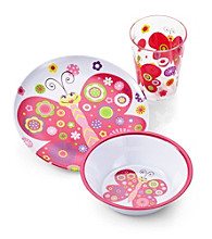 LivingQuarters Kids 3-pc. Butterfly Melamine Dinnerware Set