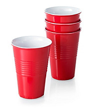 LivingQuarters Set of 4 Red Washable Cups