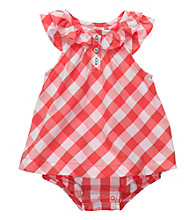 Carter's® Baby Girls' Orange Plaid Woven Sunsuit
