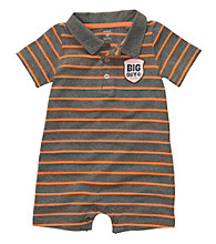 Carter's® Baby Boys' Orange/Grey Striped Polo Romper
