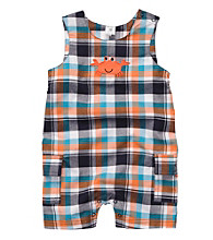 Carter's® Baby Boys' Orange/Blue Plaid Woven Crab Sunsuit