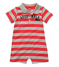 Carter's® Baby Boys' Red/Gray Striped Polo Romper