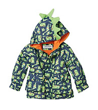 London Fog® Boys' 2T-7 Navy Dino Print Jacket