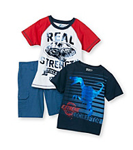 Boyz by Nannette® Boys' 2T-7 Blue 3-pc. Dino Shorts Set
