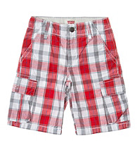 Levi's® Boys' 2T-20 Red Plaid Cargo Shorts