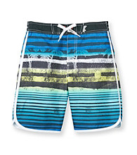 Mambo® Boys' 4-20 Blue/Green Striped Dolohin Hem Board Shorts