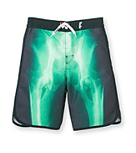 Mambo® Boys' 8-20 Black X-Ray Dolphin Hem Board Shorts