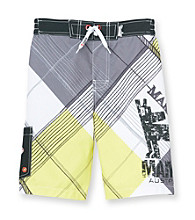 Mambo® Boys' 4-20 White Plaid Dog Side Pocket Board Shorts