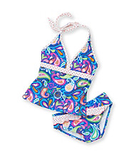 Mambo® Girls' 4-16 Blue/Coral 2-pc. Paisley Prep Tankini