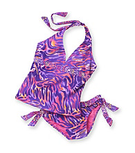 Mambo® Girls' 4-16 Purple/Pink 2-pc. Sunset Skin Tankini