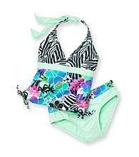 Mambo® Girls' 4-6X Green 2-pc. Surfin' Safari Tankini