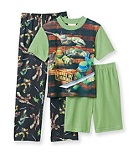 Nickelodeon® Teenage Mutant Ninja Turtles Boys' 4-10 Green/Black 3-pc. Training Pajama Set