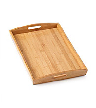 LivingQuarters Whiteware Bamboo Rectangular Serve Tray