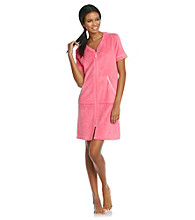 Jasmine Rose® Short Seersucker Trim Robe