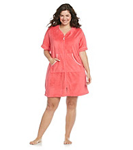 Jasmine Rose® Plus Size Short Seersucker Trim Robe