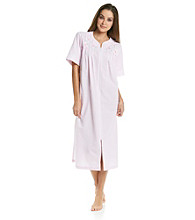 Miss Elaine® Long Seersucker Zip Robe - Pink